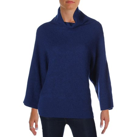 Magaschoni Womens Cashmere Ribbed Pullover Sweater Navy XS