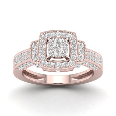 Imperial 3/4Ct TDW Diamond 10K Rose Gold Double Square Engagement (Double Rose Rings)