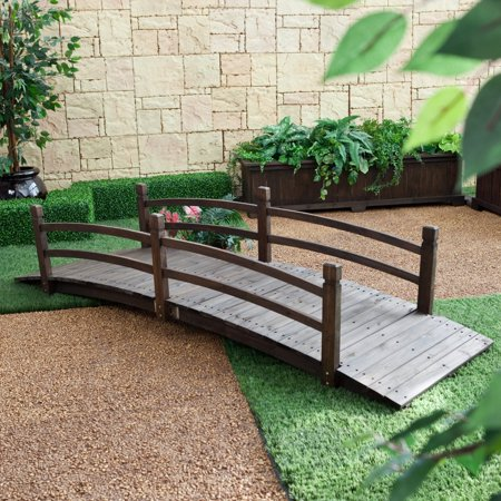 Bridge End Garden (Coral Coast Harrison 8-ft. Wood Garden Bridge - Dark Stain)