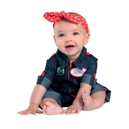 Halloween Girl's Newborn Rosie the Riveter Toddler Costume