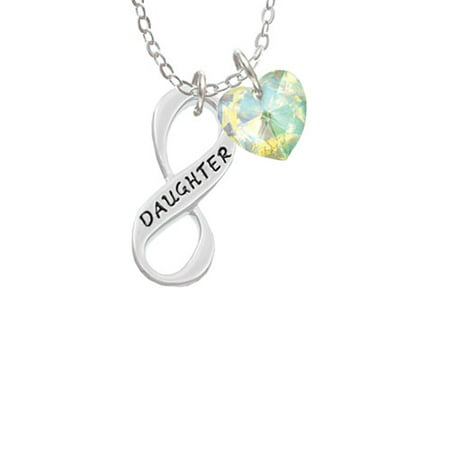 Daughter Infinity Sign  - Clear AB Crystal Heart Sophia Necklace, 18