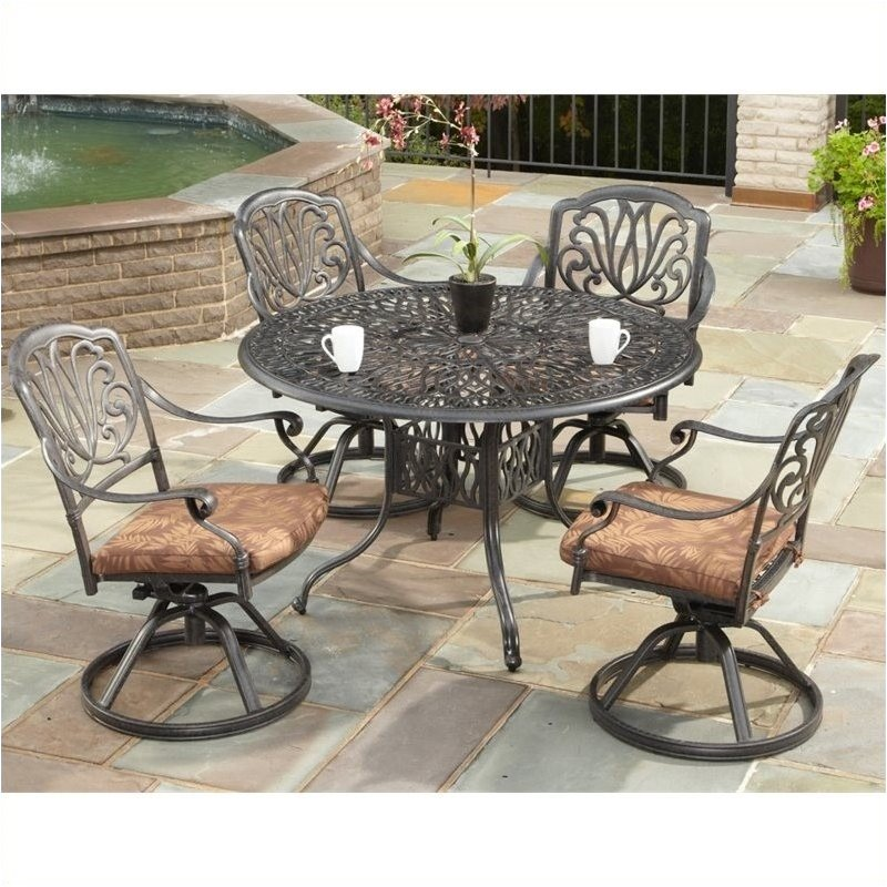 Bowery Hill 5 Piece Metal Patio Dining Room Set in Charcoal by Bowery Hill