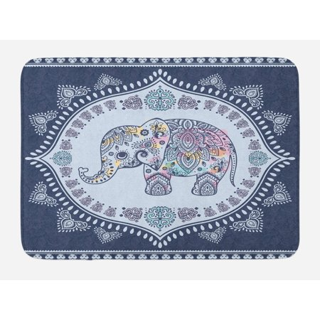Ethnic Bath Mat, Bohemian Elephant Figure with Gypsy Inspirations Spiritual Oriental Figures Graphic, Non-Slip Plush Mat Bathroom Kitchen Laundry Room Decor, 29.5 X 17.5 Inches, Navy Blue, Ambesonne