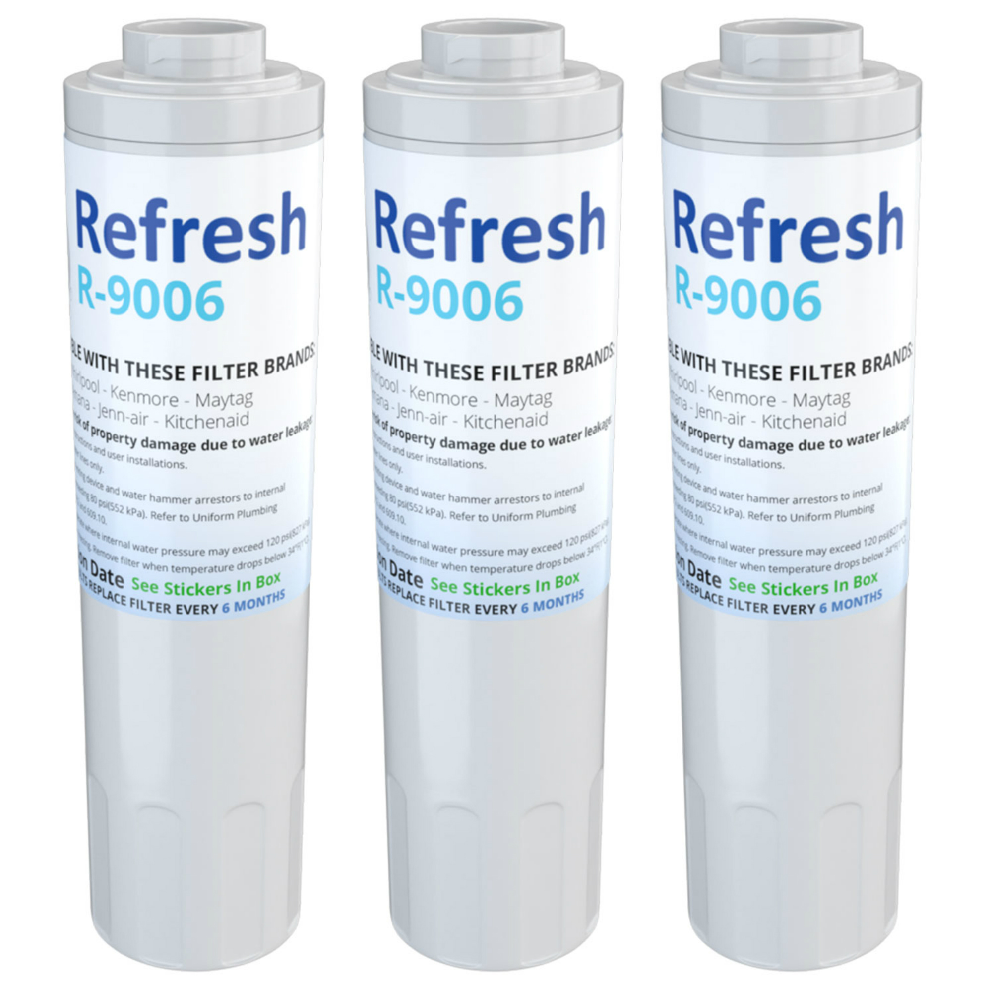 Refresh Replacement for Maytag UKF8001 Whirlpool 4396395 Puriclean II Refrigerator Water Filter (3 Pack)