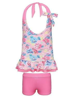 Sun Emporium Little Girls Pink Blue Vintage Blossom 2 Pc Tankini Swimsuit