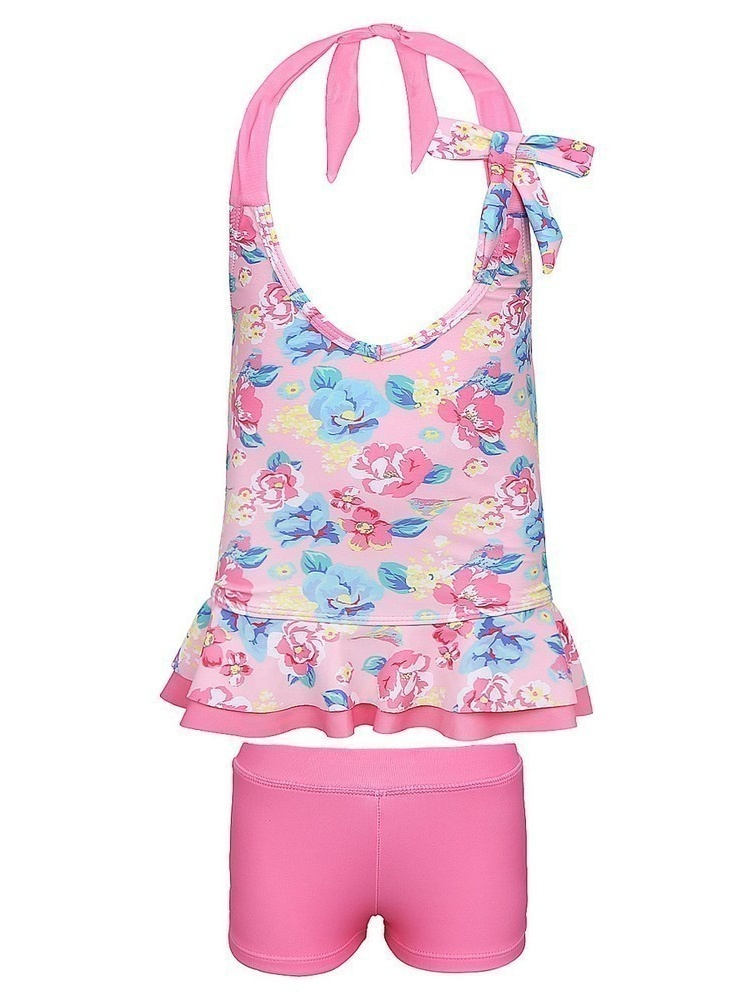 Sun Emporium Little Girls Pink Blue Vintage Blossom 2 Pc Tankini Swimsuit