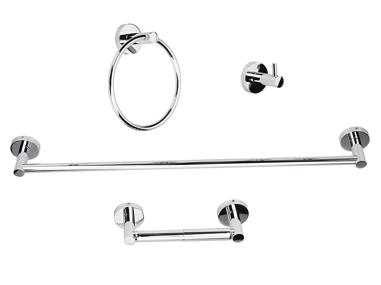 Polished Chrome Bathroom Hardware Set Towel Bar Ring Hook Paper Holder