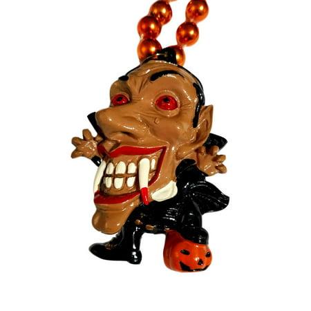 Beaded Pumpkin - Scary Vampire with Pumpkin Mardi Gras Beads Party Favor