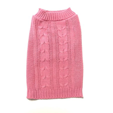Large Pink Cable Knit Dog Sweater by Midlee