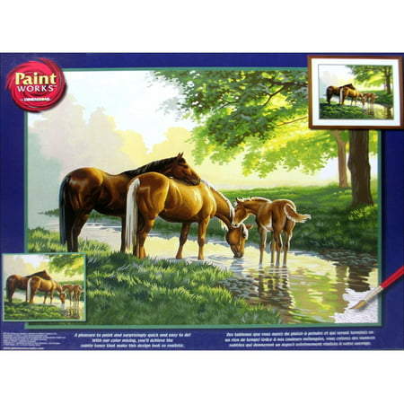 Paintworks Paint By Number Horses By A Stream