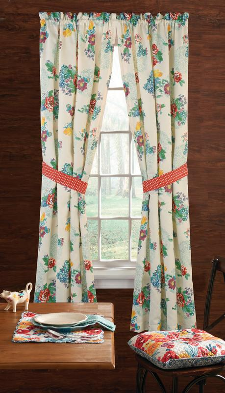"""Set of 2 40/""""W x 54/""""L The Pioneer Woman Country Garden Window Curtain Panel"""