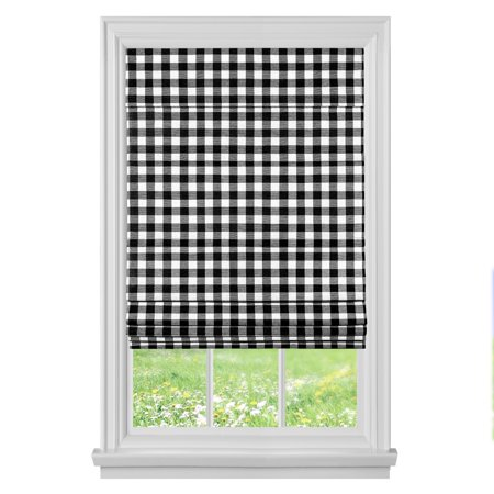 Buffalo Country Plaid Gingham Check Retractable Room Darkening Cordless Roman Window Shade - Black, 36 in. W x 64 in. L