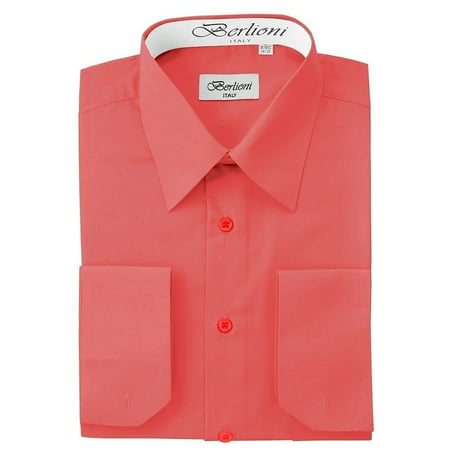 Berlioni Italy Men's Convertible Cuff Solid Dress Shirt