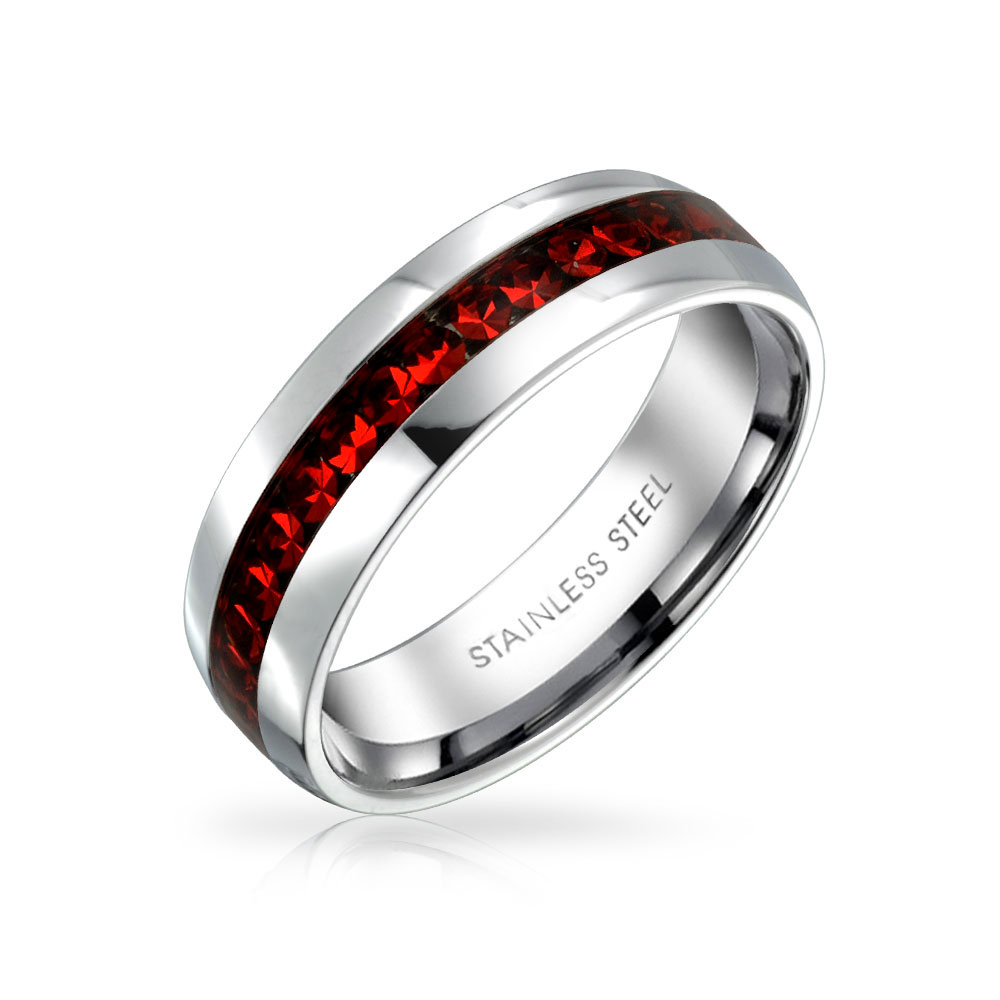 Bling Jewelry Simulated Garnet Crystal Birthstone Eternity Band Ring Steel