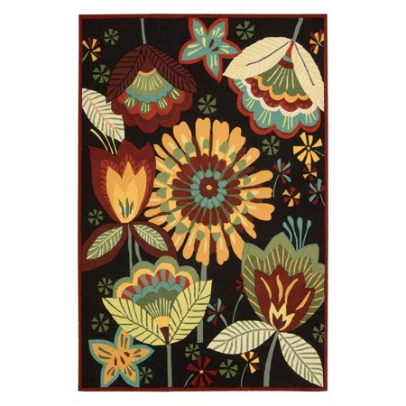 - Nourison Floral Images Folk Art Runner Rug, Black, 2'3