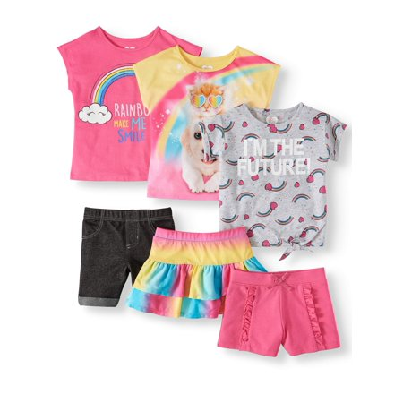 Mix & Match Short Sleeve, Short and Skirt 6-Piece Outfit Set (Little Girls & Big Girls)](Sandy From Grease Outfit)