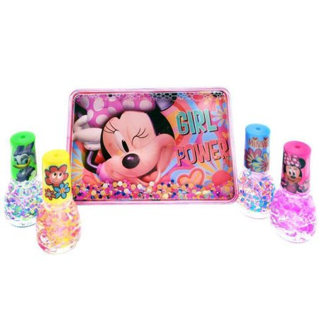 Disney Minnie Mouse Girls Nail Polish Sparkle Gift Set Storage Box Case 5pc (Minnie Mouse Nails For Halloween)
