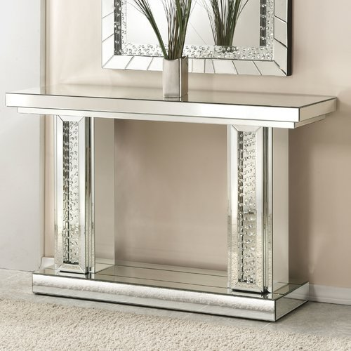 Hayworth Mirrored Coffee Table: Rosdorf Park Bladwell Rectangle Mirrored Console Table