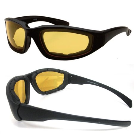 1 Night Driving Riding Padded Motorcycle Glasses Black Frame with Yellow