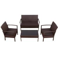 Topbuy 4 PCS Rattan Wicker Furniture Set Loveseat Sofa Cushioned Patio Outdoor Brown