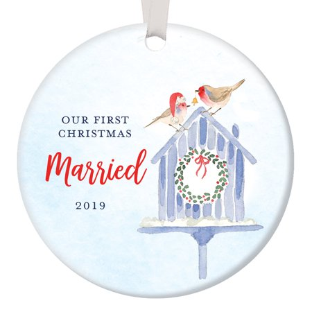 Miniature Birdhouse Ornament (First Christmas Married 2019, Our 1st Xmas Ornament Wedding Gift for Husband & Wife Mr and Mrs, Watercolor Birdhouse Circle Ceramic Present 3
