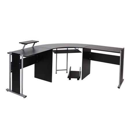 karmas product 62 l shaped computer desk modern wood corner gaming table pc laptop office desk. Black Bedroom Furniture Sets. Home Design Ideas