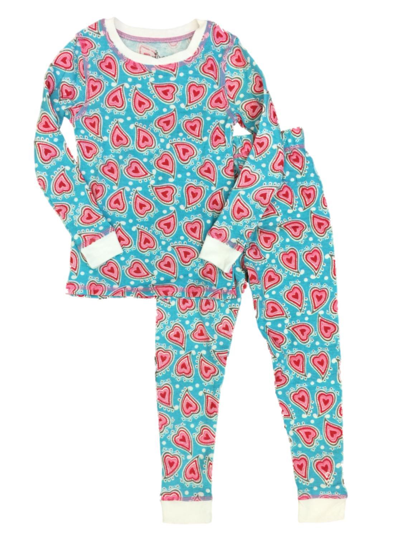 Cuddl Duds Toddler Girls Blue Heart Thermal Underwear Long Johns Base Layer Set