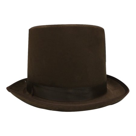 Steampunk Willy Wonka Brown Suede Bell Topper Top Hat Adult Costume - Willy Wonka Womens Halloween Costume