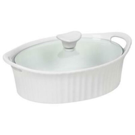 1PK Corningware 1.5 QT French White III Oval Casserole Dish With Glass Cover 2/PK