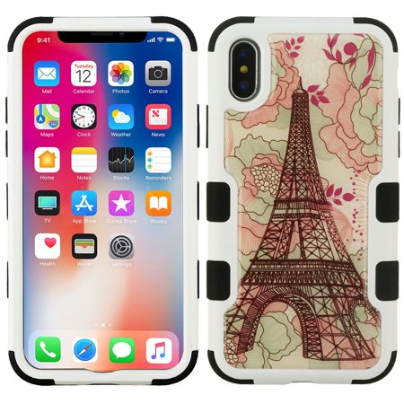 iPhone X Case, iPhone 10 Case, by Insten Tuff Eiffel Tower Dual Layer [Shock Absorbing] Hybrid Hard Plastic/Soft TPU Rubber Case Cover For Apple iPhone X (Combo with Glass Privacy Screen Protector)