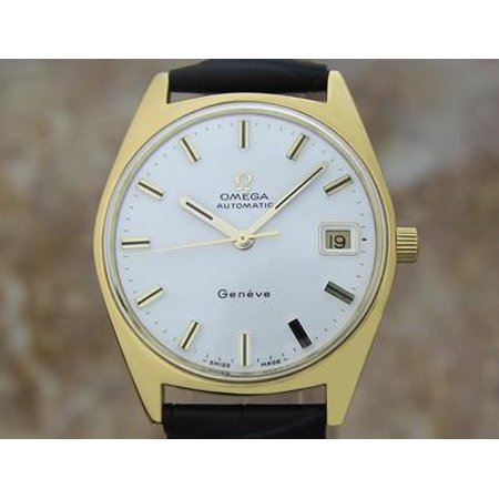 Omega Geneve 1960s Swiss Made Vintage Gold Cap Mens Watch 34mm Date Func