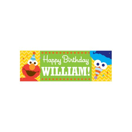 Personalized Sesame Street Elmo and Cookie Monster Kids Birthday Banner](Sesame Street Birthday Banner)