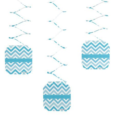 Chevron Blue - Party Hanging Decorations - 6 Count