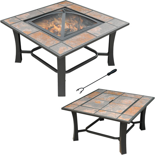 fire pit table with chairs walmart. axxonn 2-in-1 malaga square tile top fire pit/coffee table pit with chairs walmart