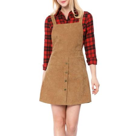 Women Corduroy Button Decor A Line Suspender Overall Dress Skirt Brown L (US 14)