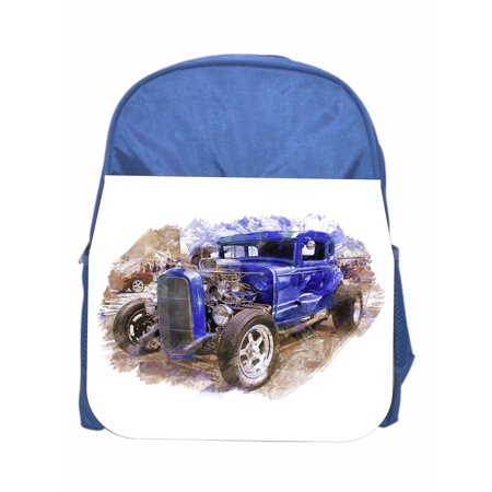 Vintage Car - Boys Blue Preschool Toddler Kids Backpack & Lunch Box Set (Boys Backpack And Lunchbox)