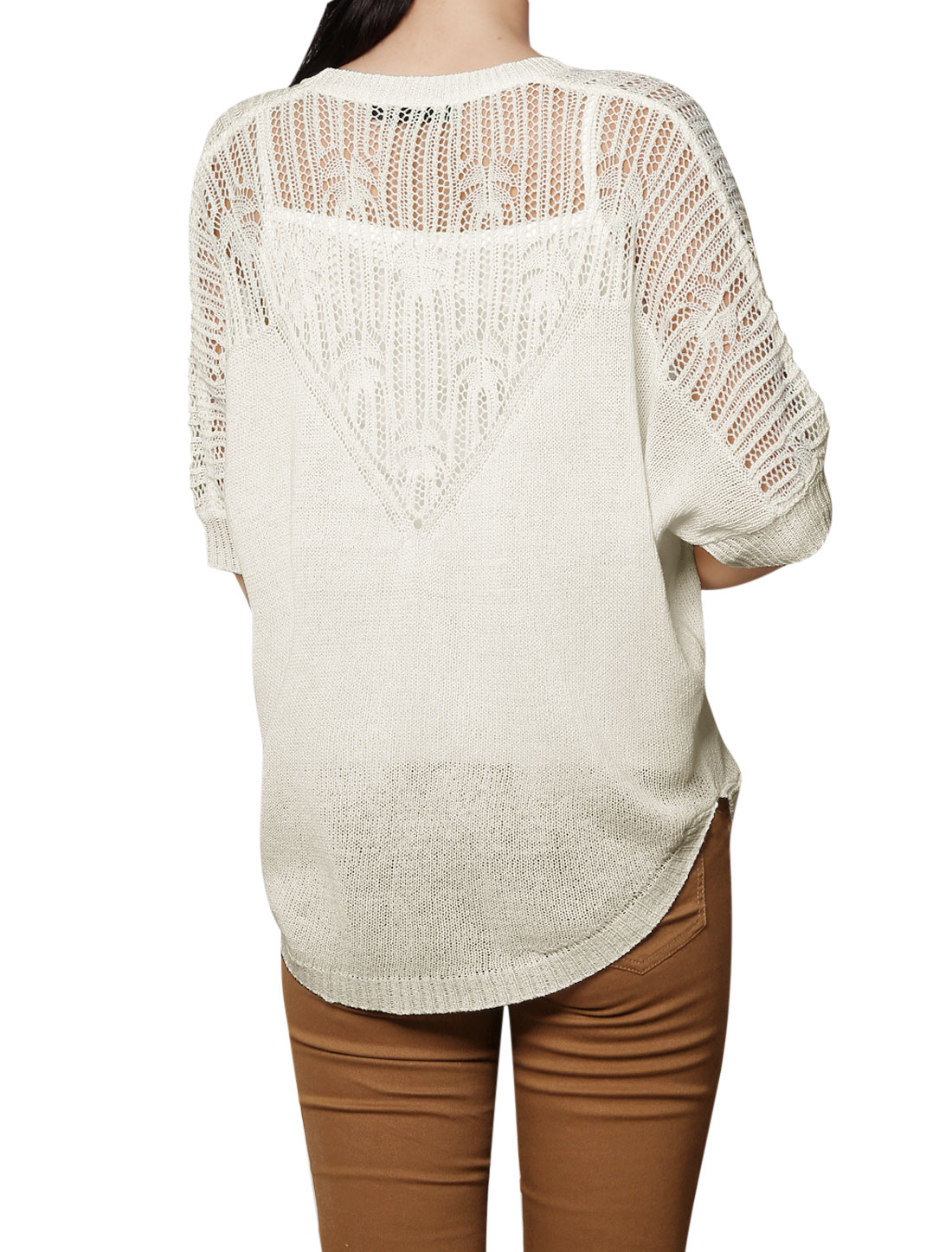 Unique Bargains Women's Hollow Out Upper Short Batwing Sleeves Pullover Sweater White (Size S / 4)