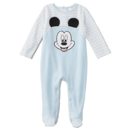 5d8966f89 Mickey Mouse - Infant Boys Stripe Blue Velour Mickey Mouse Footie ...