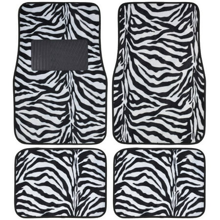 Zebra Floor Mats (BDK Zebra Car Floor Mats, Animal Prints Mat, 4 Pieces,)