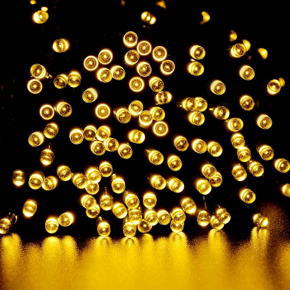 LUCKLED 2PACK Dual Solar&Battery Powered LED String Lights, 200 LED Waterproof Decorative String Lights, Fairy Outdoor String Lights (Warm White)