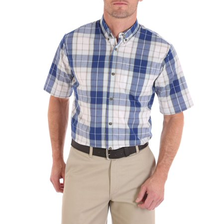 Wrangler Men's advanced comfort short sleeve casual button down -