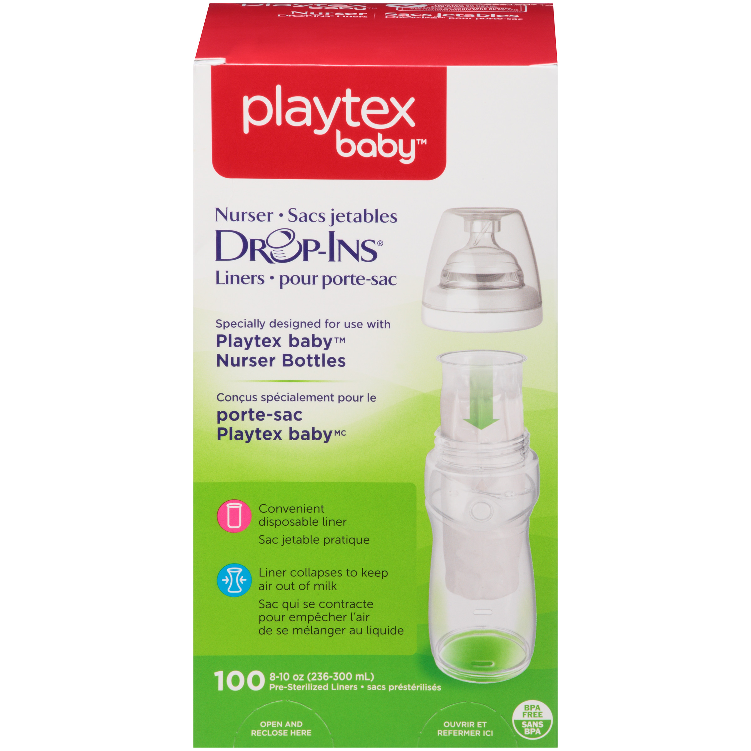 Playtex Baby Drop-Ins Liners For Playtex Baby Nurser Bottles 8-10oz 100 count