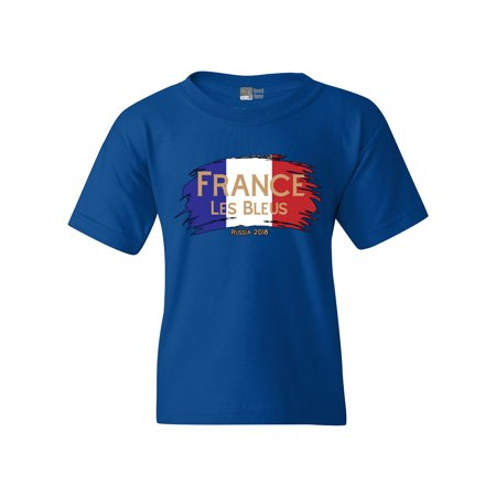 France Les Bleus Russia 2018 Football Team Fan Wear DT Youth Kids T-Shirt