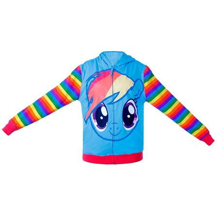 My Little Pony Rainbow Dash Mens Striped Zip Up Hoodie Sweatshirt