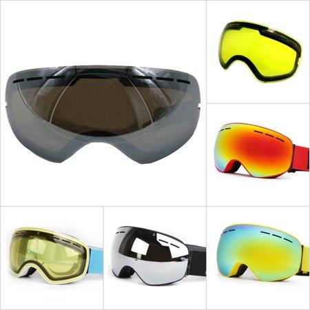 Windproof Snowmobile Snowboard Skate Ski Goggles with Detachable Lens - Dual Anti-fog,Anti-UV Lens