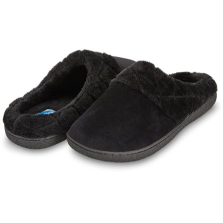 Floopi Womens Indoor Outdoor Soft Velour Quilted Fur Lined Clog Slipper W/Memory Foam (S, Black-304)