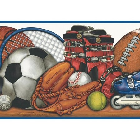 879666 Sports Balls and Equipment on Shelf Wallpaper Border MN5035