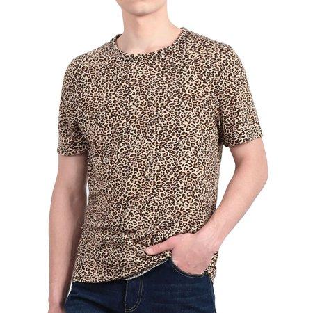 - Unique Bargains Men's Summer Crew Neck Stretchy Leopard Prints Short Sleeve T-Shirt