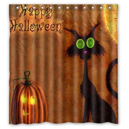 MOHome Evil Cat Pumpkin Happy Halloween Shower Curtain Waterproof Polyester Fabric Shower Curtain Size 66x72 inches](Evil Halloween Pumpkin)