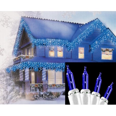 Set of 100 Blue Mini Icicle Christmas Lights - White Wire - Halloween Icicle Lights Outdoor